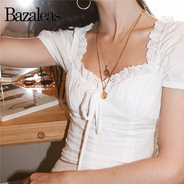 580bb40bf2082c Bazaleas 2018 lace hollow womens tops and blouses Ruffle square neck blouse  Slim Tie blouse Fashion lantern sleeve shirts blusas