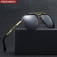 Peekaboo Uv400 Polarized Sunglasses Men Luxury Brand With Box Square Gold Metal Driving Sun Glasses For