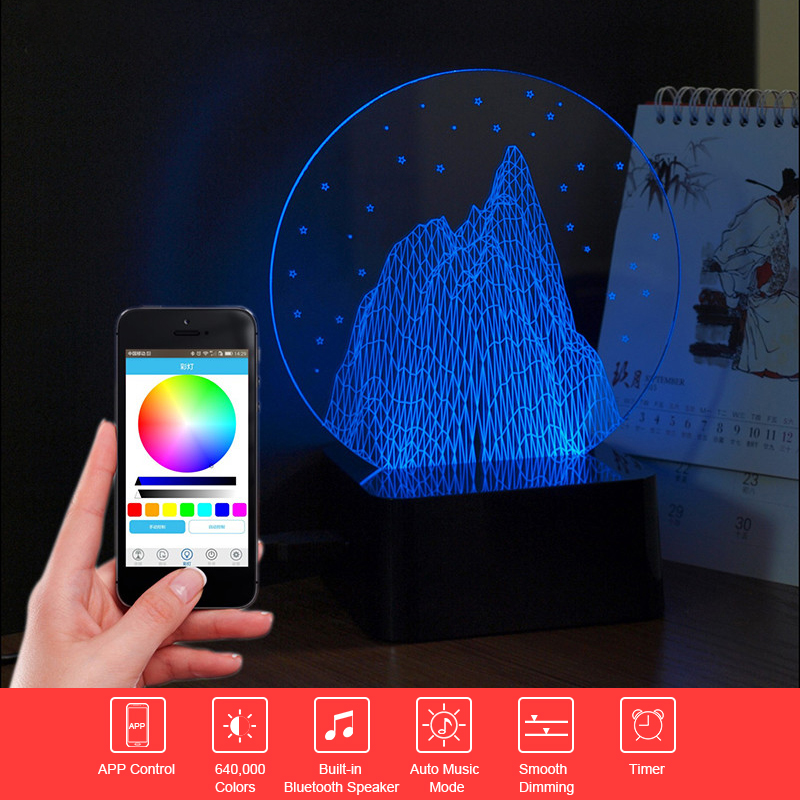 ФОТО USB Novelty Lamp 3D Art Mountain Night Light Touch Desk Table Lampara with Remote Control Bluetooth Music Nightlight for Child