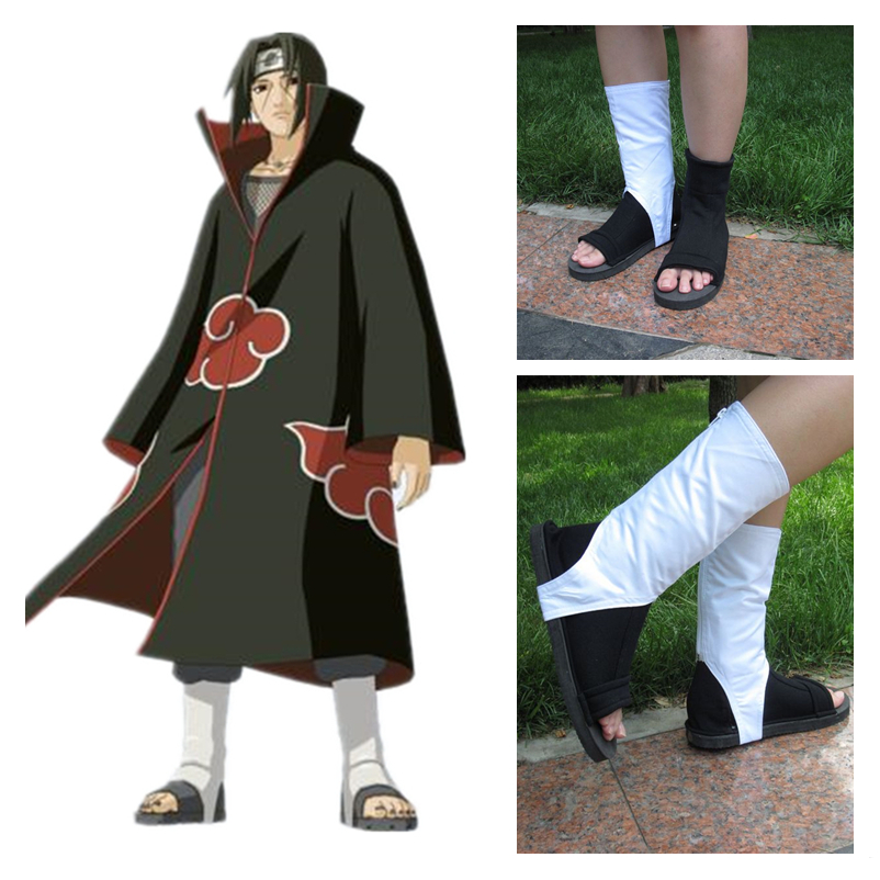 Anime Naruto Akatsuki Uchiha Itachi Cosplay Shoes Kids Adult Ninja Shoe Cotton Boots Black White Shoes Cosplay Props New 2019