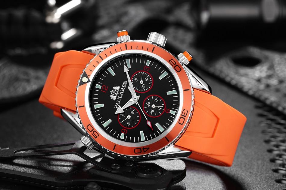 Men Automatic Self Wind Mechanical Stainless Steel Strap James Bond 007 Style Orange Blue Black Dial Bezel Classic Watch