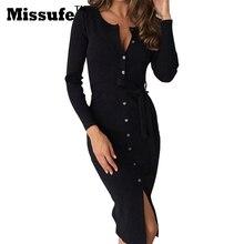 Missufe Sonbahar Kış Diz Boyu Uzun Kollu Örme Kılıf Sıcak Ofis Rahat Tunik Hanımefendiler Zarif Parti Elbiseler 2016 Vestidos
