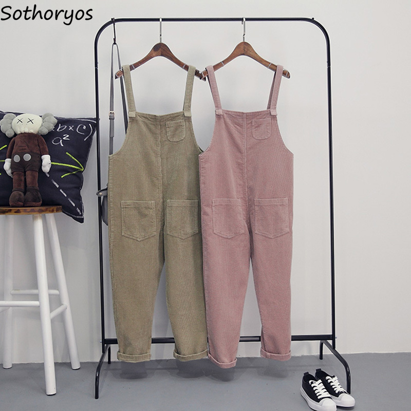 <font><b>Jumpsuits</b></font> Women Harajuku Girls <font><b>Kawaii</b></font> Corduroy Pockets Solid Color Loose Soft Sleeveless <font><b>Jumpsuit</b></font> Womens Simple All-match Chic image