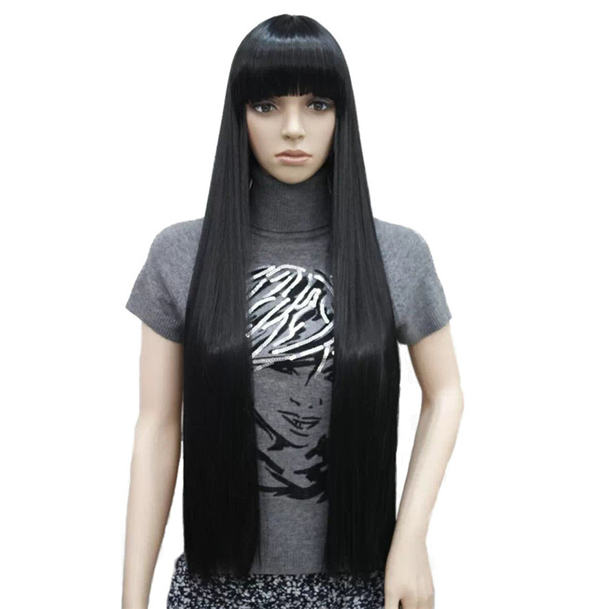 StrongBeauty Women's Wigs Neat Bang Black Long Straight Bob Natural Synthetic Full Wig 6 Color