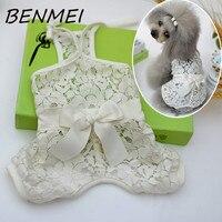 Benmei كلب صغير الدانتيل زهرة bowknot بذلة أزياء الصلبة لون الملابس الملابس للكلاب القطط الأبيض القصير