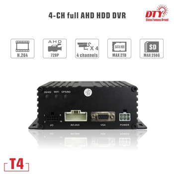 T4 (gps,wi-fi,4g), DTY high performance 4ch 720p hdd and sd card mobile dvr with gps wifi and 4g for cars buses taxies trucks t4s with gps gps mdvr h 264 sd card car dvr with gps tracker with factory dierect pricing