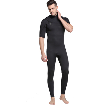 Sbart Men 3mm one-piece surf Suit Short sleeve Wetsuit neoprene Freediving spear fishing  Diving suit swimsuit Black diving suit