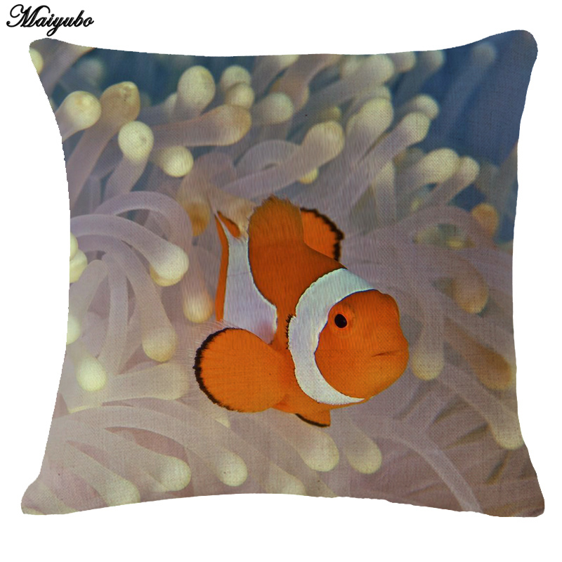 Maiyubo Marine Sea Fish print Throw Pillow Case Blue Ocean Animal Linen Comfortable Cushion Cover cute baby Turtles wholesale
