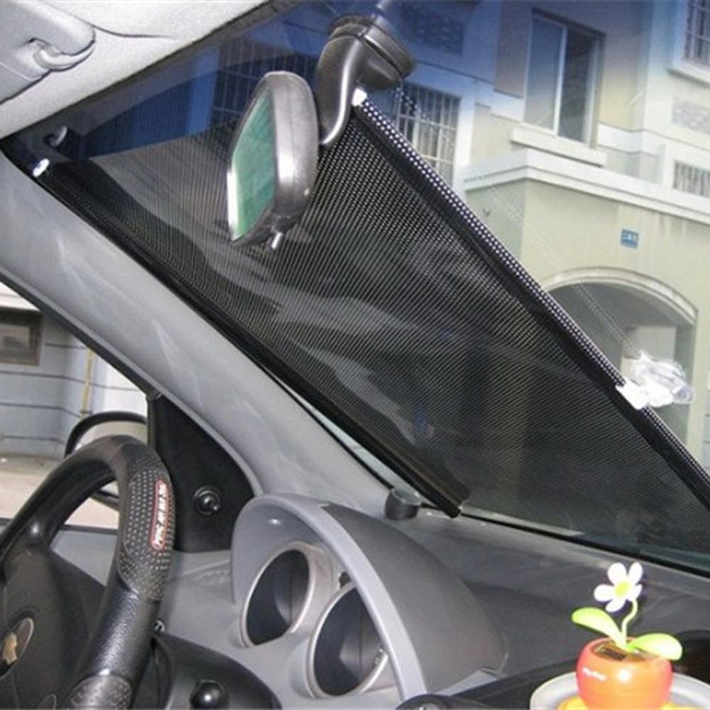 1PC * 50*125 autoretráctil ventana lateral parasol de coche parabrisas de cortina parasol cubierta del escudo visera de malla escudo para coches Protector para volante de coche FORAUTO, fundas de cuero de PU antideslizantes y transpirables, adecuado para decoración de automóvil de fibra de carbono de 37-38cm