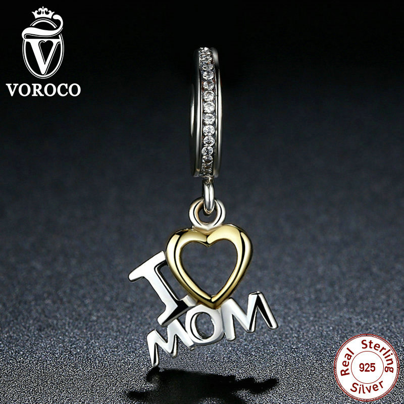 VOROCO Classic 925 Sterling Silver I Love MOM Heart Pendants fit Pandora Charms Bracelets for Women