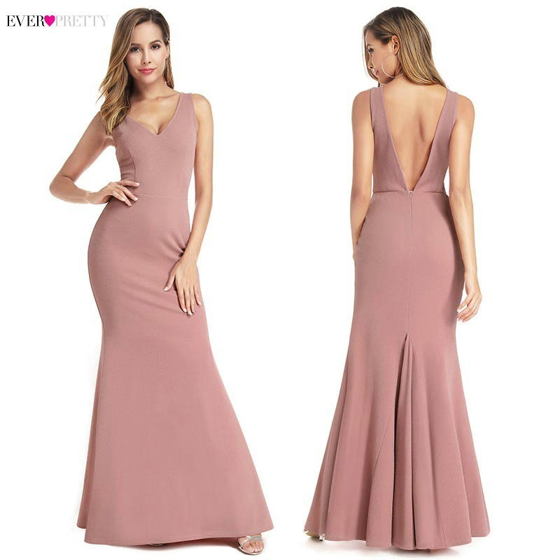 Ever Pretty Pink Mermaid   Prom     Dresses   Long Double V-Neck Draped Sleeveless Sexy Women Formal Party   Dresses   Vestidos De Gala 2019
