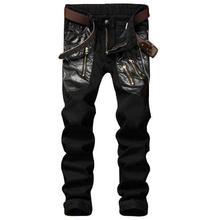 #1546 Mens black jeans Patchwork Straight Designer jeans men Slim fit biker jeans Skinny Homme Leather Patchwork Multi Zipper