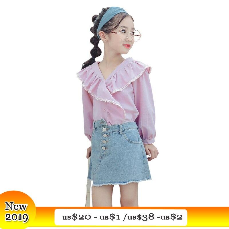 Girls Denim Skirts Suits New 2019 Spring Long Sleeve T shirt Princess Tops Little Girl Teenage Girls Clothing 6 8 10 12 years girl
