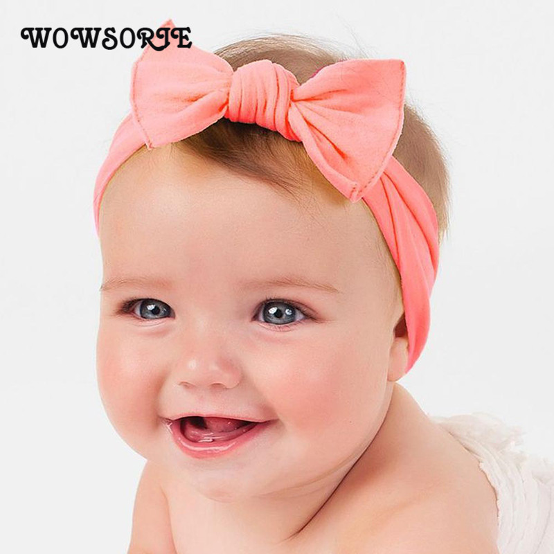 Wowsorie New Baby Hair Accessories Headbands Knotted Hair Band Children Sweet Cotton Bow Headband Knot Headwrap Rabbit Turban popular in europe and america children wear hair knotted cotton big bow tie children hair baby hair headband