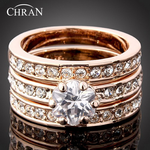 CHRAN Exquisite Rose Gold Color 3 Pave Crystal Wedding Rings for Women Elegant Flower Cubic Zirconia Engagement Promised Ring