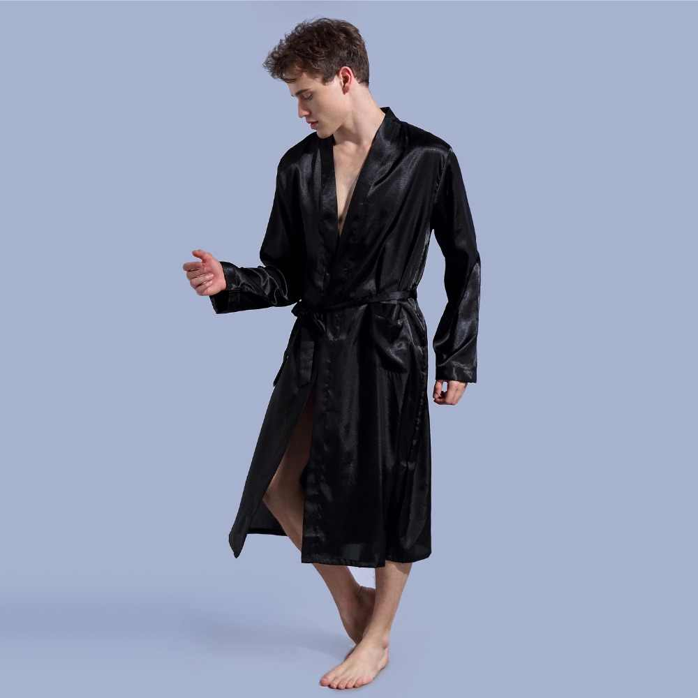 ... Black New Loose Casual Men s Rayon Satin Robe Gown Solid Color Kimono  Yukata Bathrobe Nightwear Sleepwear ... 65b2feaf8