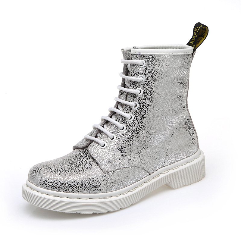 2018 Casual Martin Women Boots Female British Leather High Boots Low Flat Bottomed Medium Tube Silve Whiter Boots