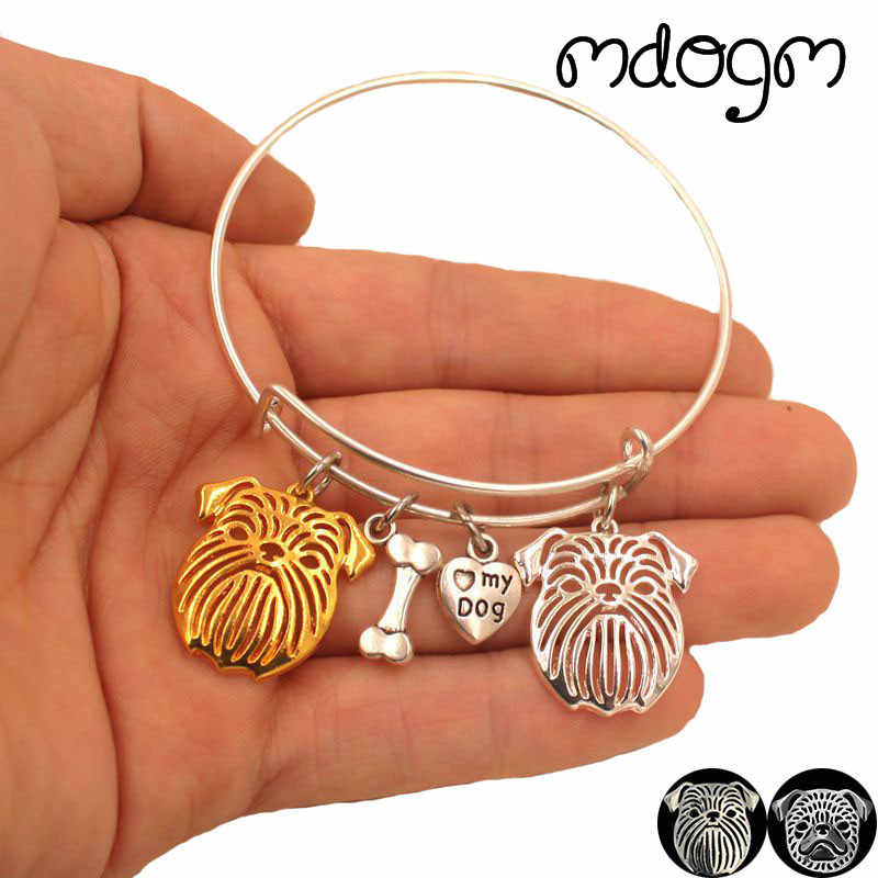 2019 New Fashion Animal Bracelet Bangles Brussels Griffon Dog Love Alloy Metal Men Women Male Female Girls Jewelry Gift S120