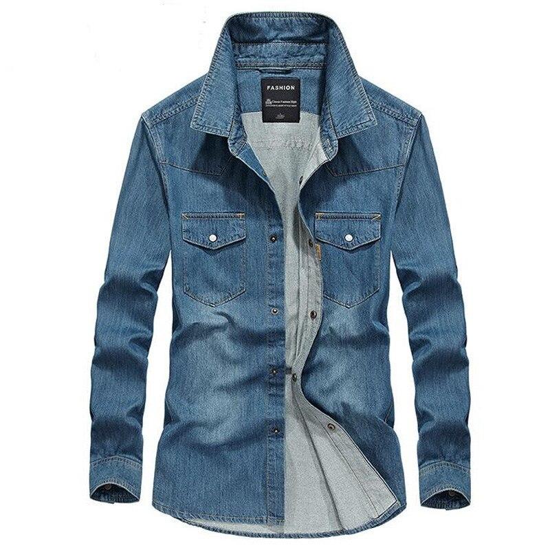 2017 Men Denim Shirt Long Sleeve 100% Cotton Two Pockets Slim Jeans Cowboy 4XL Fast Shipping