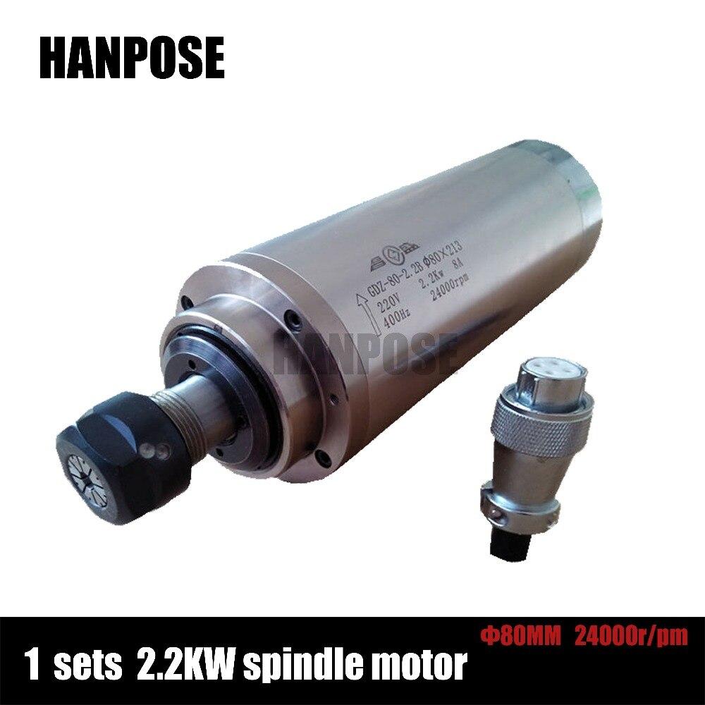 2.2KW 220V water-cooled ER20 spindle motor 24000rpm 4 bearing For CNC Milling