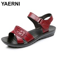 YAERNI Summer 2017 Genuine Leather Wedges Sandals Women Shoes Black Red Color 35 40 Size Back