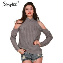 Simplee водолазка с плеча трикотажные свитера женщины Осенняя мода трикотажные пуловеры перемычки Зима сексуальные негабаритных свитер