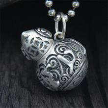 лучшая цена Mens Necklaces Pendants 999 Sterling Silver Gourd Pendant Open Bottle Remembrance Jewelry Antique Silver Color 16.6G