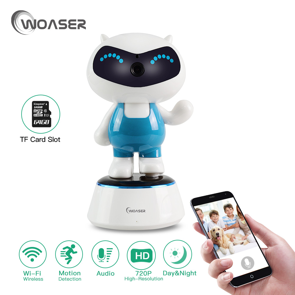 WOASER 720P Robot IP Camera  Phone APP Control PTZ HD Wireless WiFi Baby Monitor Support TF 128G Security Camera Night Vision baby monitor camera wireless wifi ip camera 720p hd app remote control smart home alarm systems security 1mp webcam yoosee app