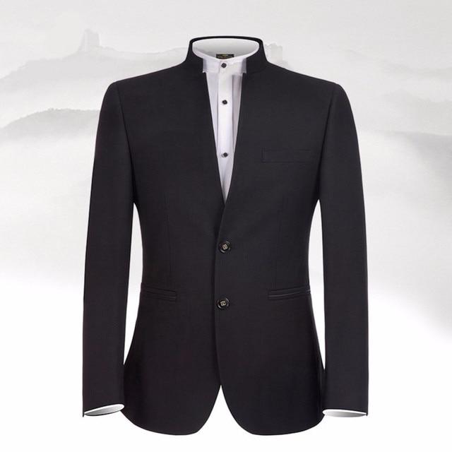 Фото новый дизайн черные мужские костюмы классический костюм с воротником цена