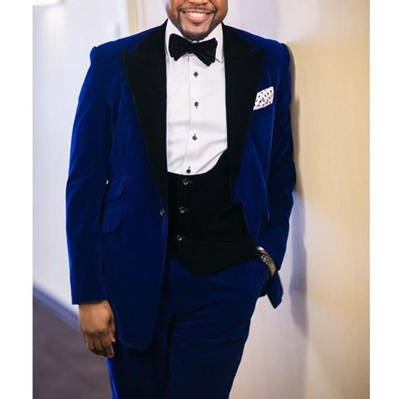 Royal Blue Velvet Business Men Suits 2018 Blazer Black