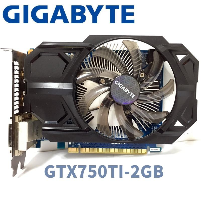 Used Gigabyte GV-n750TD5-2Gl GTX750TI GTX 750TI 2GB 2G D5 DDR5 128 Bit PC Desktop Graphics Cards Computer Graphics Cards