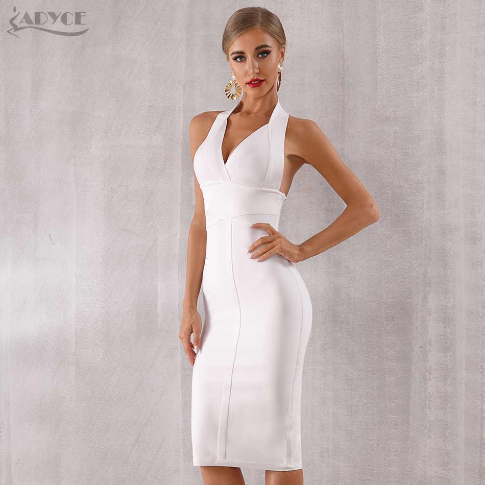 Женское вечернее платье ADYCE, белое облегающее платье с открытой спиной и V-образным декольте в стиле звезд, для клуба, для лета, 2019