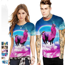 6 Styles New T Shirt 3D Rainbow Llama Design Cartoon T-shirt Men Women Fashion Tee Top Unicorn Summer Tops Shirts Dropship(China)