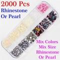 Gel Len 2000pcs Mix Size Mix Color Nail Art Salon Coloful Pearl Decoration DIY 3D Acrylic Glitter Rhinestone
