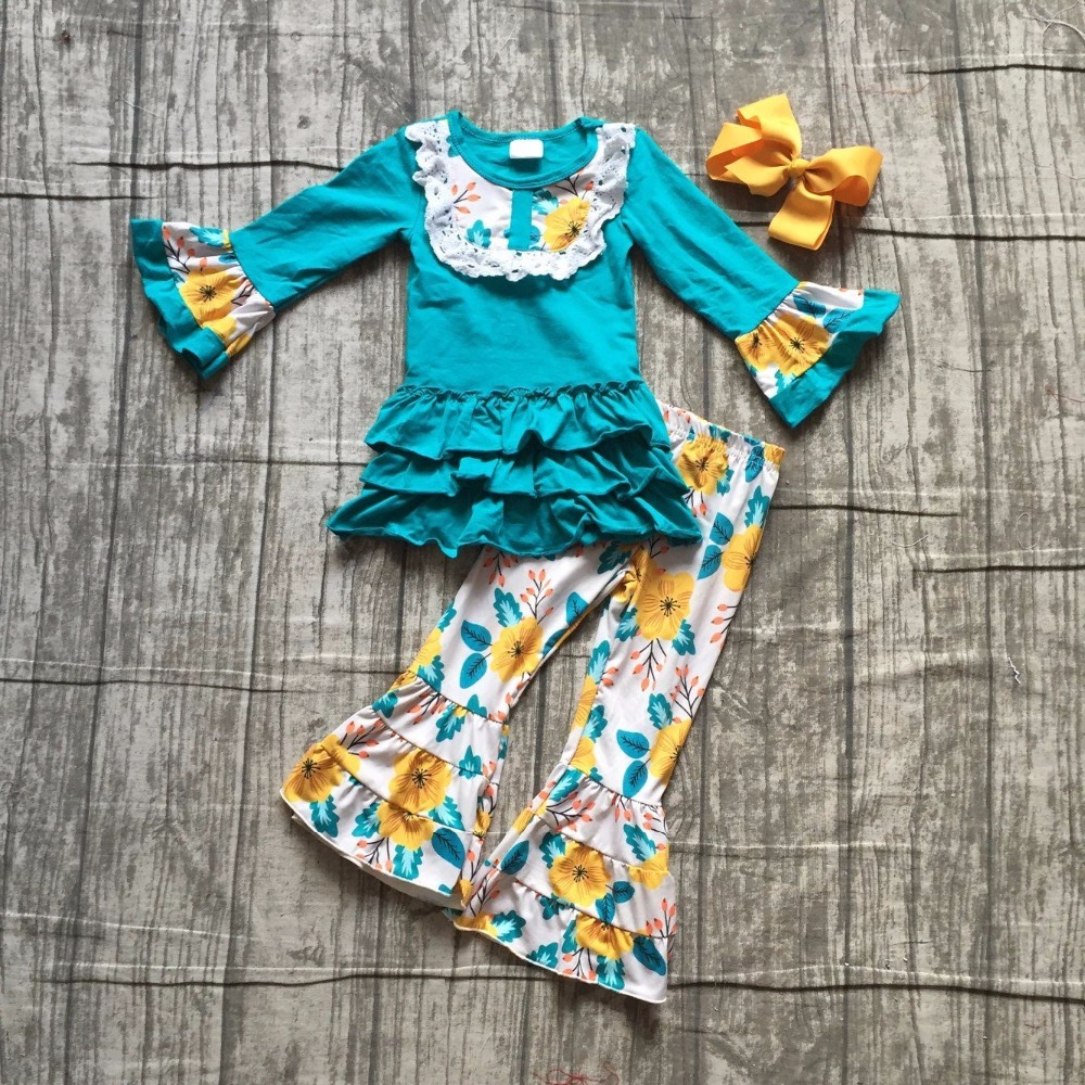 new Fall/winter baby girls children clothes jade yellow floral flower ruffles cotton long sleeve outfits boutique match cilp bow thanksgiving baby girls kids fall striped brown outfits dress pumpkin boutique cotton sleeve children clothes match accessory