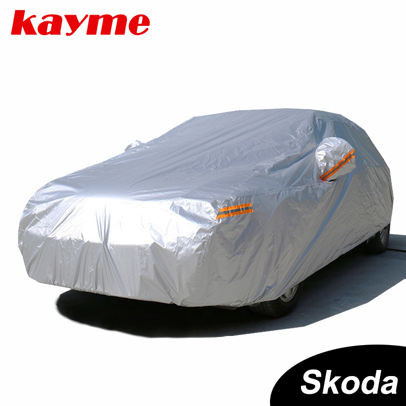 Kayme Étanche complet voiture couvre soleil poussière Pluie protection auto suv de protection pour skoda yeti superbe rapide octavia 2 a5 a7 fabia