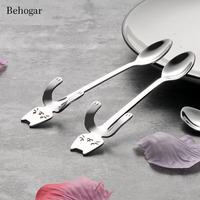 Behogar 10 PCS Stainless Steel Cat Tea Coffee Ice Cream Spoon Teaspoon Tableware For Home Kitchen