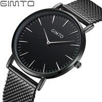 GIMTO Top Brand Men Watch Clock Luxury Rose Gold Watches Mens Steel Mesh Band Dress Quartz
