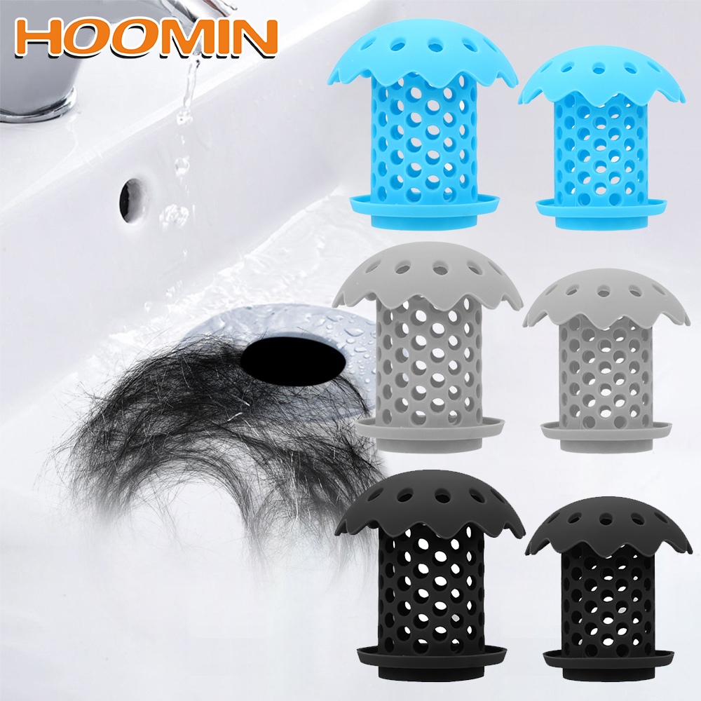 HOOMIN Bathroom Accessories Hair Stopper Durable Silicone Drain Strainer  Bathtub Sink Drain Hair Catcher  2 Piece/Set