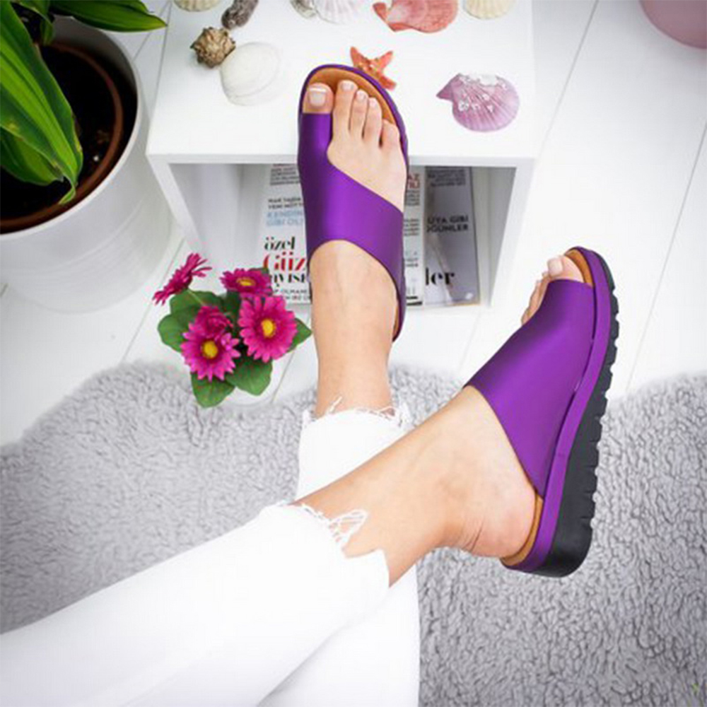 HTB1j38AXUGF3KVjSZFvq6z nXXaF Puimentiua Women slippers Flat Sole Casual Soft Big Toe Foot Sandal Women Shoes Comfy Platform Orthopedic Bunion Corrector