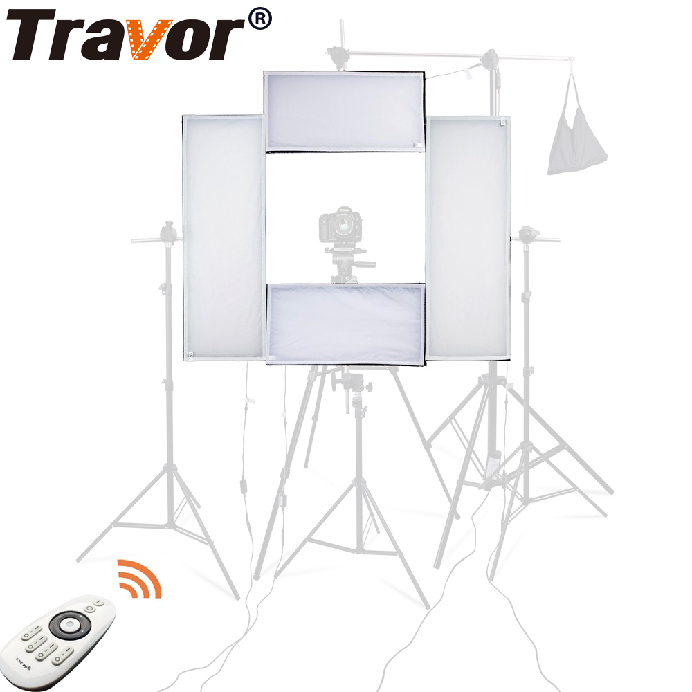 Travor 4 em 1 CRI95 Headshot LEVOU luz do estúdio 100 W 5500 K luz de vídeo com 2.4G Remoto Sem Fio controle de iluminação de fotografia