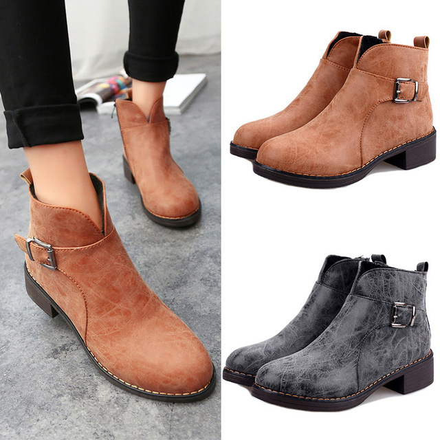 Korean Style Women Leather Low Heel Boots Ladies Ankle Boots Women Dress  Boots Free Shipping 2986338c09