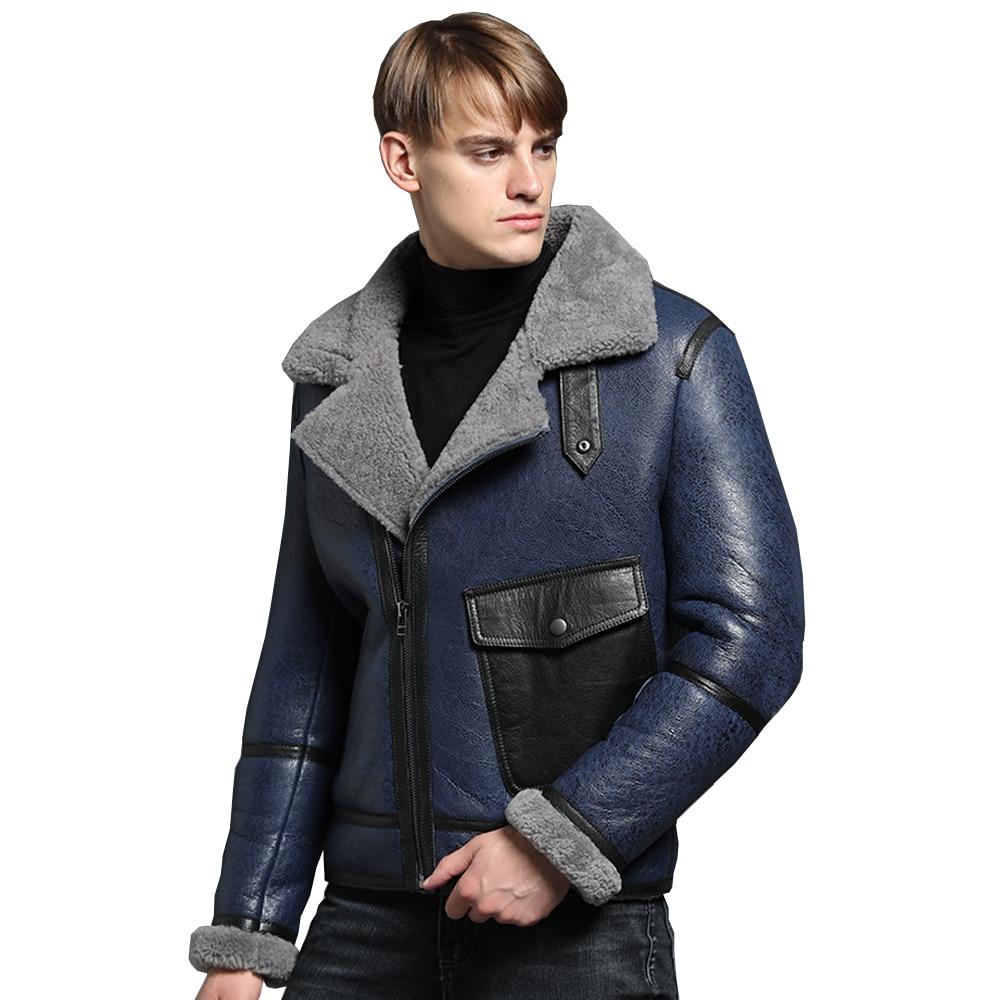 New Genuine Sheep Shearling Jacket Young Man real Sheep Skin Coat Male Winter Jacket Blue Men Fur Gentlemen Casual Overcoat мужские кожанные куртки с косой молнией
