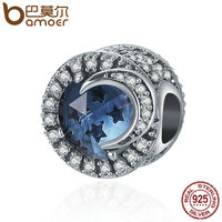 BAMOER 925 Sterling Silver Sparking Sky Star Moon Big Stone Clear CZ Beads Fit Charm Bracelet