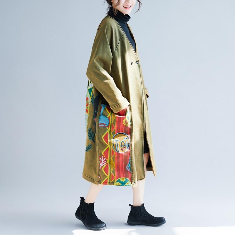 Plus Lâche V Denim Manteau Imprimer Vintage Cou Femelle 2019 Taille Occasionnel Femmes Tranchée Multi Survêtement Imprimé Dames Long dIOAYnwv