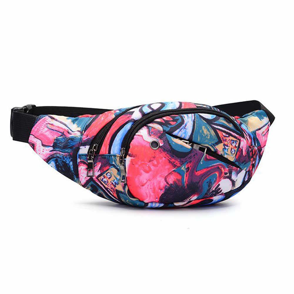 Unisex Women Men Printed Waist Pack Bicycle Belt Bag Chest Handbag Shoulder Bag Purse#30