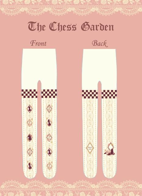 Princess sweet lolita pantyhose Royal The Chess Garden Chess handle LOLITA printing pantyhose board Alice velvet hose