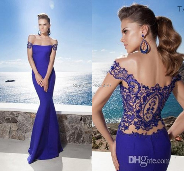 Off Shoulder Royal Blue Lace Sheer Back Mermaid Prom Dresses Formal ...