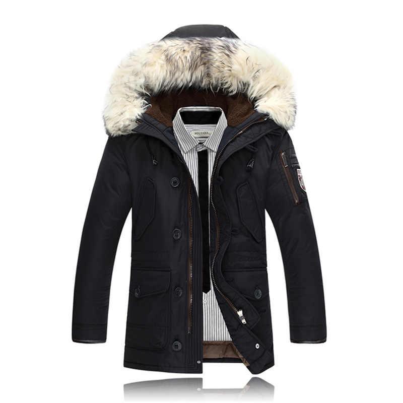Größe M-3XL Neue Männer casual Dicke Pelz Kragen Winter Warme Schnee Weiße Ente Unten Jacke Mantel Für Männer Winter, 4 farben