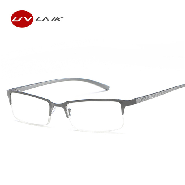UVLAIK Men Reading Glasses Alloy Frame Presbyopic Prescription Eyeglasses +1.0 +1.5 +2.0 +2.5 +3.0 +3.5+4.0